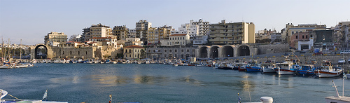 Heraklion old port panorama