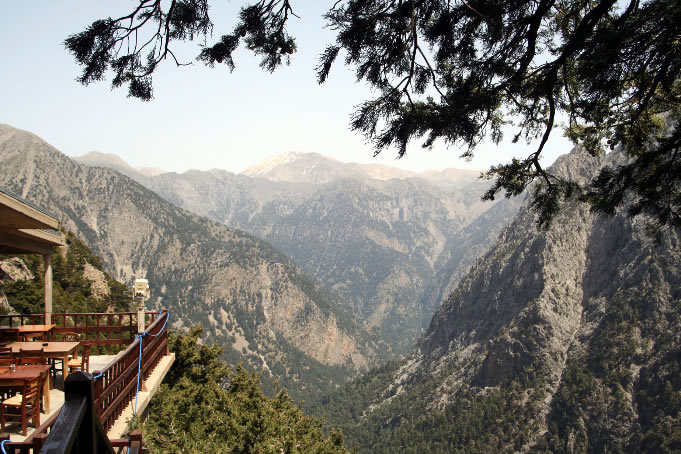 Mountain views showing the towering walls of Samaria Gorge Crete, Greece
