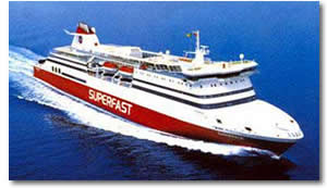 Superfast Ferry at full speed at sea